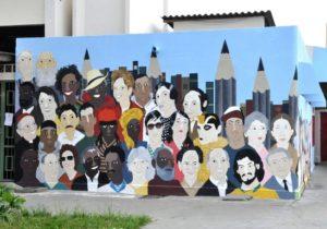 Coletivo artístico expõe pintura na fachada do RU Centro